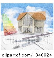 Clipart Of A Sketched Custom Home With An Energy Chart And Drafting Tools Over Blueprints And Sky Royalty Free Illustration