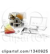 Clipart Of A Half Sketch3d Half 3d White Character Builder With A Home Desktop Computer Blueprints And Energy Chart Royalty Free Illustration by KJ Pargeter