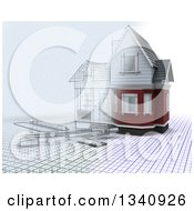 Clipart Of A Half 3d Half Sketched Custom Home With Drafting Tools On Blueprints Over White Royalty Free Illustration by KJ Pargeter