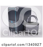 3d Pc Desktop Computer Tower And Security Padlock On Shading