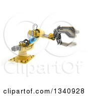 Clipart Of A 3d Yellow Industrial Robotic Arm On White 2 Royalty Free Illustration