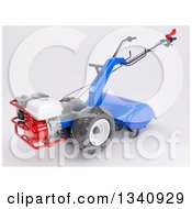 Clipart Of A 3d Rotavator Cultivator Machine On Shaded White Royalty Free Illustration