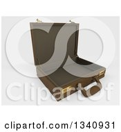 Clipart Of A 3d Open Brown Professional Briefcase On Shaded White Tilted To The Right On Shading Royalty Free Illustration