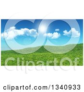 Clipart Of A 3d Grassy Spring Hill Against A Blue Sky With Clouds And Sunshine Royalty Free Illustration
