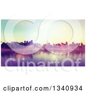 Clipart Of A 3d Tropical Island With Sunset Flares Royalty Free Illustration