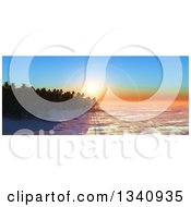 Clipart Of A 3d Tropical Island Sunset Or Sunrise With Silhouetted Palm Trees And A Flare Royalty Free Illustration