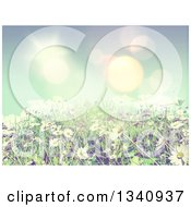 3d Sunny Spring Background With Blue Sky Daisies And Grass With Vintage Effect