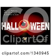 Clipart Of A Blood Shot Eyeball In Grungy HALLOWEN And Sample Text Over A Bat And Tombstone Against Black And Red Royalty Free Vector Illustration