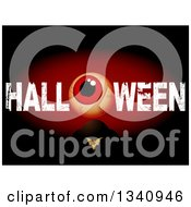 Clipart Of A Blood Shot Eyeball In Grungy HALLOWEN Text Over A Bat And Tombstone Against Black And Red Royalty Free Vector Illustration