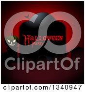 Clipart Of A Vampire Bat Spider And Illuminated Halloween Pumpkin Jackolantern By A Halloween Party Tombstone Over Red Royalty Free Vector Illustration by elaineitalia