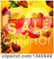 Clipart Of 3d Red Sale Tiles Over Autumn Leaves And Orange Royalty Free Vector Illustration by elaineitalia