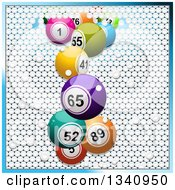 Clipart Of 3d Colorful Bingo Balls Breaking Through White Tiles Bordered In Blue Royalty Free Vector Illustration