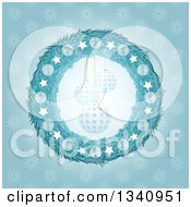 Clipart Of A 3d Blue Christmas Wreath Framing Suspended Ornaments Over A Snowflake Pattern Royalty Free Vector Illustration by elaineitalia