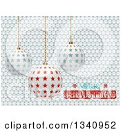 Clipart Of 3d Suspended Star Ornaments Over White Buttons And Merry Christmas Text Royalty Free Vector Illustration by elaineitalia