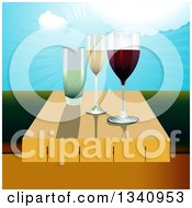 Clipart Of 3d Wine Glasses On A Table Against A Valley And Sunny Sky Royalty Free Vector Illustration by elaineitalia