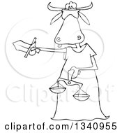 Lineart Clipart Of A Cartoon Black And White Blindfolded Lady Justice Cow Holding A Sword And Scales Royalty Free Outline Vector Illustration by djart