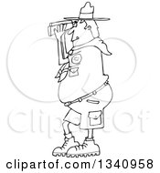 Lineart Clipart Of A Cartoon Black And White Scout Man Facing Left And Looking Through Binoculars Royalty Free Outline Vector Illustration by djart
