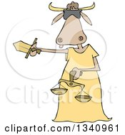 Clipart Of A Cartoon Blindfolded Lady Justice Cow Holding A Sword And Scales Royalty Free Vector Illustration