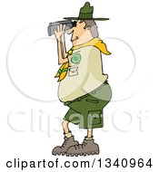 Cartoon Caucasian Scout Man Facing Left And Looking Through Binoculars