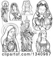 Clipart Of Grayscale Virgin Mary Designs Royalty Free Vector Illustration