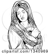 Clipart Of A Black And White Virgin Mary Royalty Free Vector Illustration