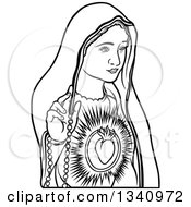Clipart Of A Black And White Virgin Mary 3 Royalty Free Vector Illustration