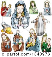Clipart Of Virgin Mary Designs Royalty Free Vector Illustration