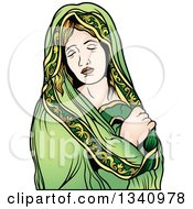 Clipart Of A Virgin Mary 2 Royalty Free Vector Illustration