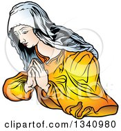 Clipart Of A Praying Virgin Mary 3 Royalty Free Vector Illustration