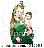 Clipart Of A Virgin Mary Holding Baby Jesus 4 Royalty Free Vector Illustration