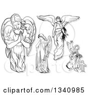 Clipart Of Black And White Female Angels With Gray Outlines Royalty Free Vector Illustration by dero