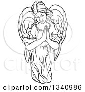Clipart Of A Black And White Female Angel With Prayer Hands Royalty Free Vector Illustration by dero