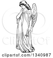 Clipart Of A Black And White Thinking Female Angel Royalty Free Vector Illustration by dero