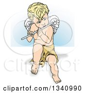 Clipart Of A Cartoon Blond Caucasian Cherub Playing A Flute Over White And Blue Royalty Free Vector Illustration by dero