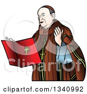 Clipart Of A Bishop With A Floating Bible Royalty Free Vector Illustration