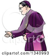 Clipart Of A Bishop In A Purple Robe Royalty Free Vector Illustration