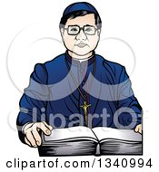 Clipart Of A Bishop With A Bible Royalty Free Vector Illustration