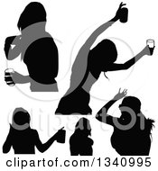 Clipart Of Black Silhouetted Party Women Drinking And Dancing Royalty Free Vector Illustration