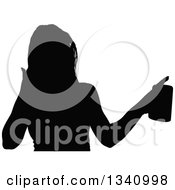 Clipart Of A Black Silhouetted Pary Woman Holding A Beverage 2 Royalty Free Vector Illustration