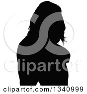 Clipart Of A Black Silhouetted Pary Woman Royalty Free Vector Illustration