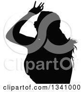 Clipart Of A Black Silhouetted Party Woman Dancing Royalty Free Vector Illustration