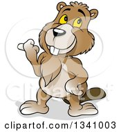 Clipart Of A Cartoon Happy Beaver Pointing To The Left Royalty Free Vector Illustration by dero