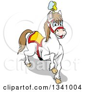 Clipart Of A Cartoon White Circus Horse Prancing Royalty Free Vector Illustration