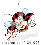 Clipart Of A Cartoon Happy Ladybug Flying Royalty Free Vector Illustration