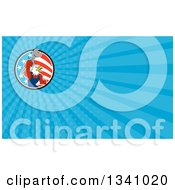 Clipart Of A Cartoon Bald Eagle Mechanic Man Holding Up A Wrench In An American Circle And Blue Rays Background Or Business Card Design Royalty Free Illustration