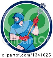Cartoon White Male Lacrosse Player With A Stick In A Blue White And Green Circle