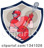 Cartoon White Male Lacrosse Player With A Stick In A Blue White And Tan Shield