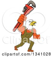 Cartoon Bald Eagle Plumber Man Holding Up A Monkey Wrench