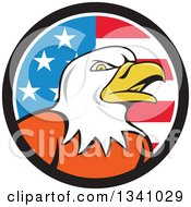 Clipart Of A Cartoon Bald Eagle Head In An American Flag Circle Royalty Free Vector Illustration by patrimonio
