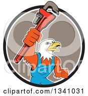 Clipart Of A Cartoon Bald Eagle Plumber Man Holding Up A Monkey Wrench Emerging From A Black White And Taupe Circle Royalty Free Vector Illustration